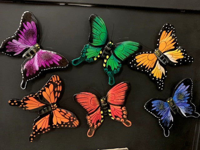 magnet - butterfly - blue - wood/handpainted