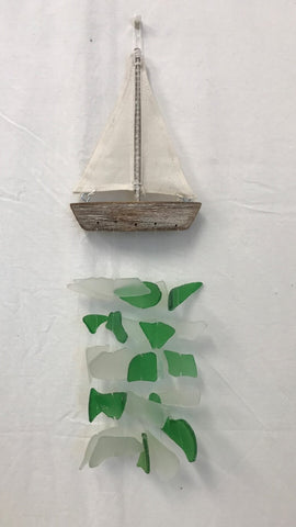windchime - sailboat - seaglass - white/green