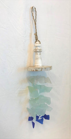 windchime - lighthouse - seaglass - white, aqua, blue