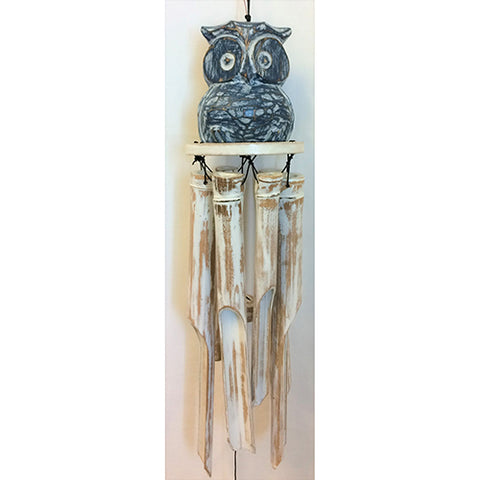 windchime - owl - bluewash - bamboo