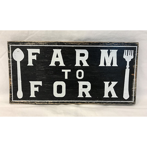 sign - farm to fork - 15x30cm
