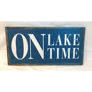 sign - on lake time - 2 slats of wood - 20x40cm