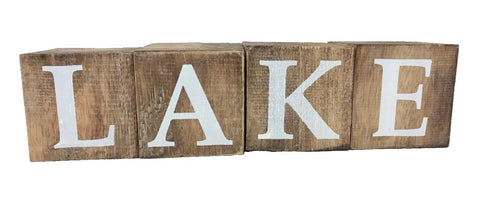 block - lake - natural/white letters - 8cm