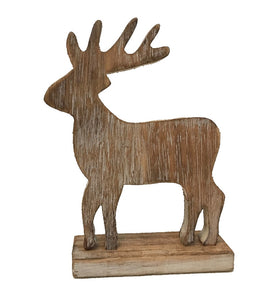 woodland - deer - on stand - whitewash/natural