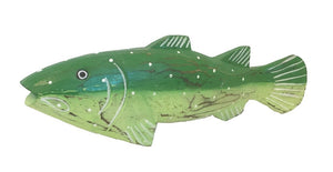 fish - trout - carved wood - green - 37cm