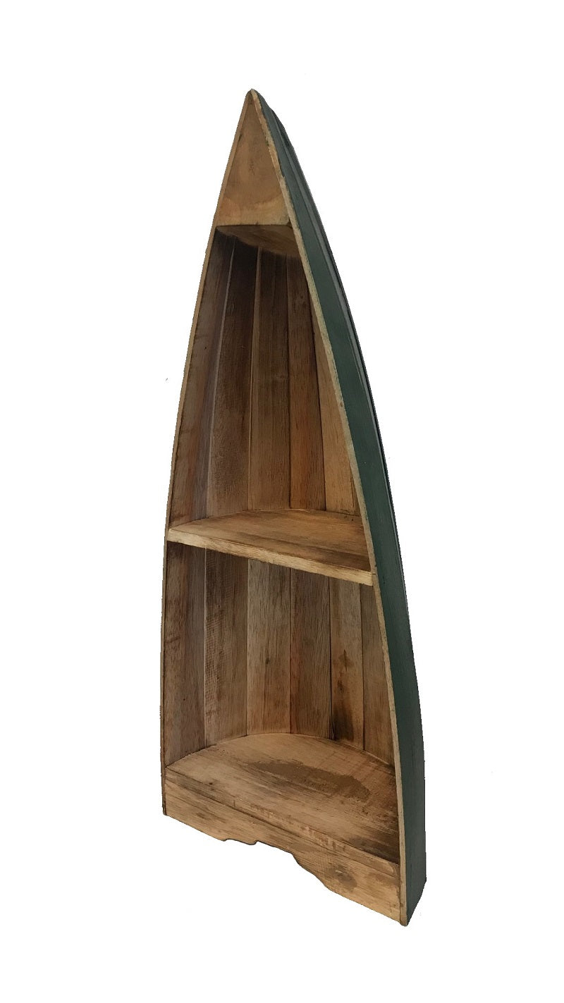 boat shelf - natural w/ dark green rim - small - 80cm - 2 shelves