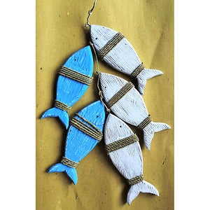 fish - set of 5 - blue & white - on string