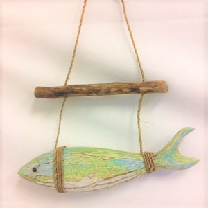 fish - horizontal - hanging from stick - green abstract