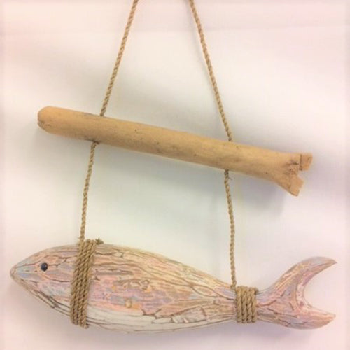 fish - horizontal - hanging from stick - blue/brown abstract