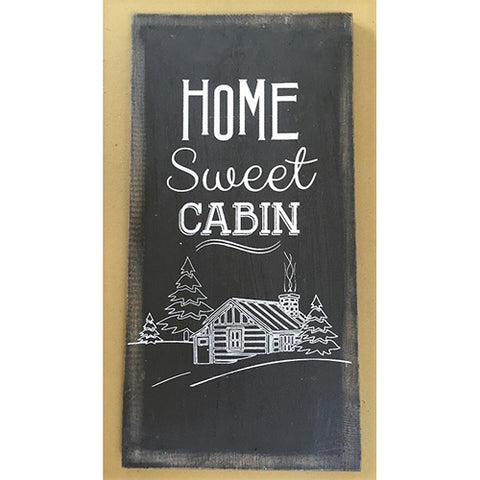 sign - home sweet cabin - black/white - 40x20cm