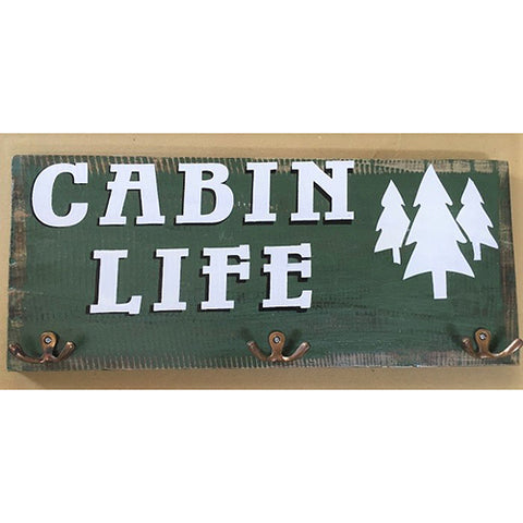 sign - cabin life - dark green/white - 3 brass hook - 40x20
