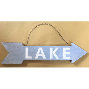 "Blue ""Lake"" Arrow Sign"