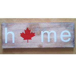 sign - home - maple leaf - 42cm x 15cm
