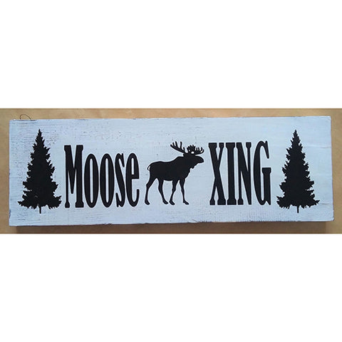 sign - moose xing - black/white distress - 60x20cm