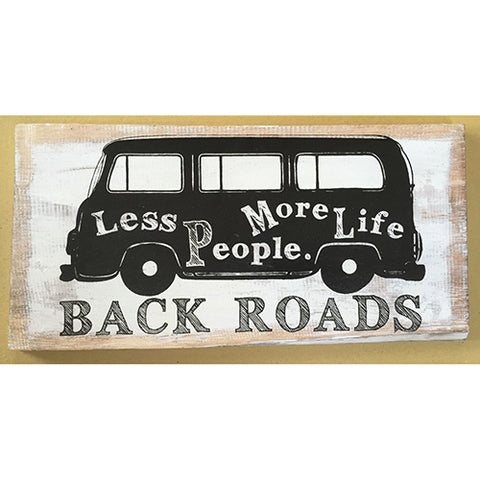 sign - back roads - white/black - 40x20cm