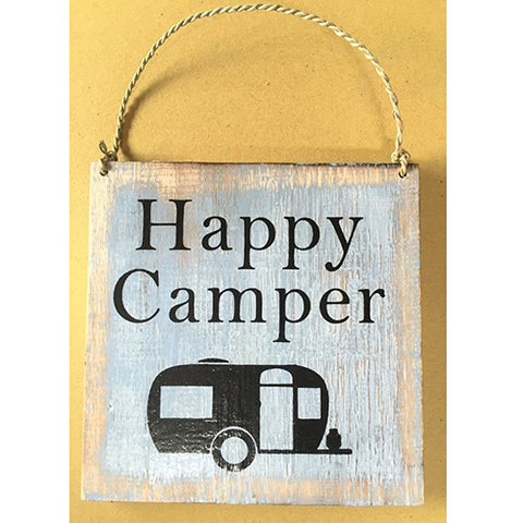 sign - happy camper - light blue/white - 20x20cm