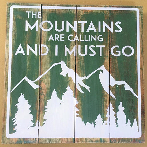 sign - mountains are calling - dark green - 30x30cm