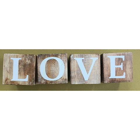 blocks - love - natural/white letters - 8cm