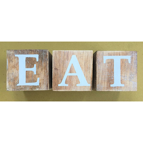 blocks - eat - natural/white letters - 8cm