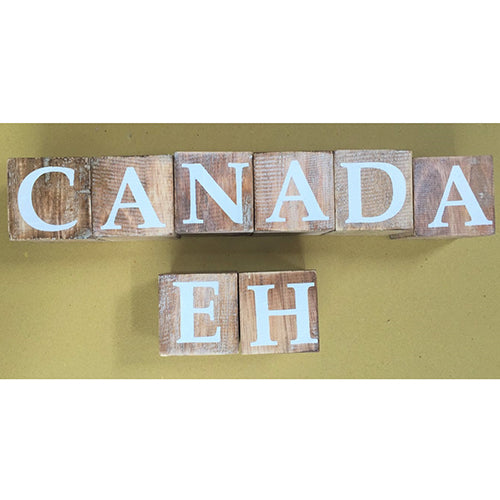 blocks - canada eh - natural/white letters - 8cm