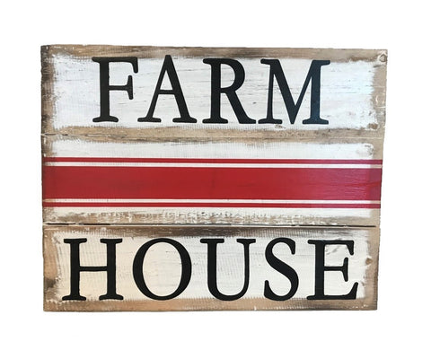 sign - farm house - red lines - 24x30cm