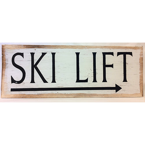 sign - ski lift - white distress - 40x15