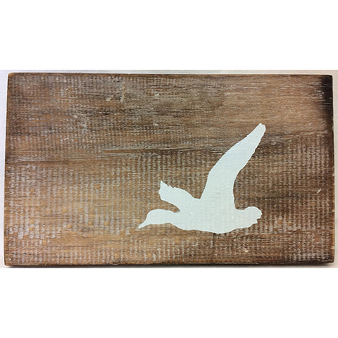sign - woodlands - duck - natural wood w/ white - 12x20