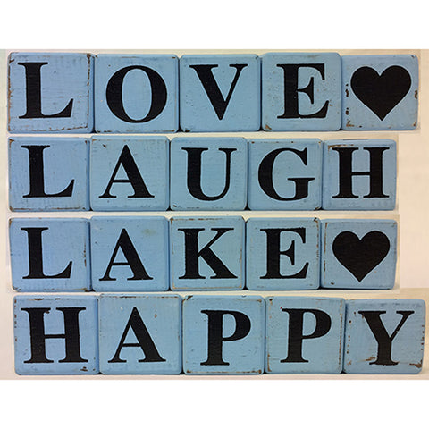 block - 4 SIDED - blue/black - happy/love/lake/laugh