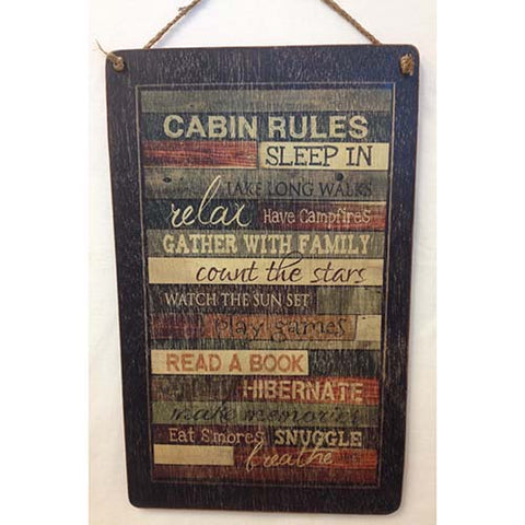 sign - cabin rules - 25x40