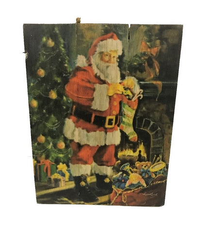 sign - santa - wood vintage - by tree w/ stocking 15x20