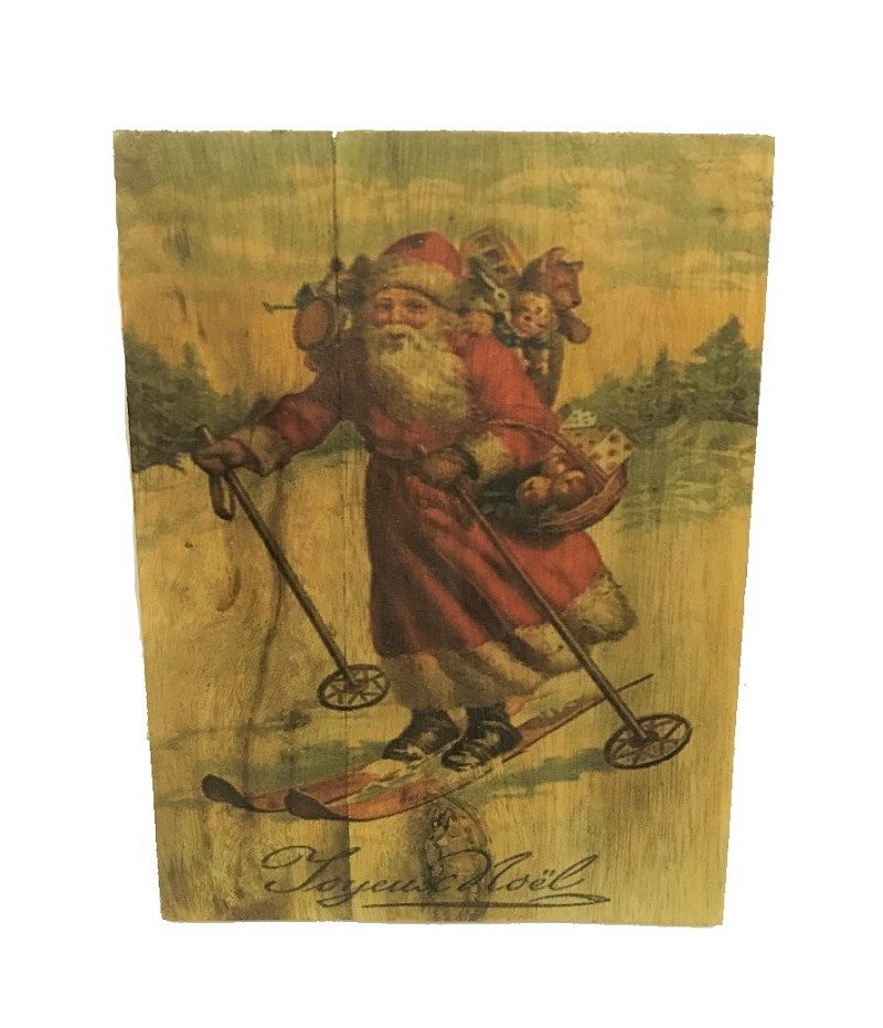 sign - santa -  wood vintage - skiing 15x20