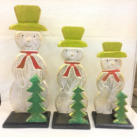 snowman with tree on stand - SET OF 3 - white gold w green hat (25/30/35cm)