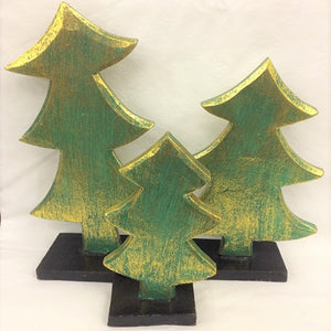 christmas tree - SET OF 3 - green/gold (15/20/24cm)