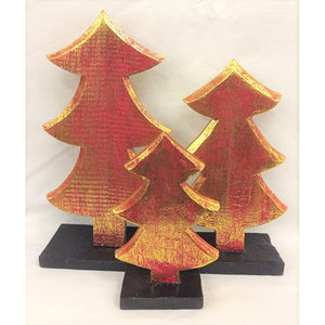 christmas tree - SET OF 3 - red/gold (15/20/24cm)