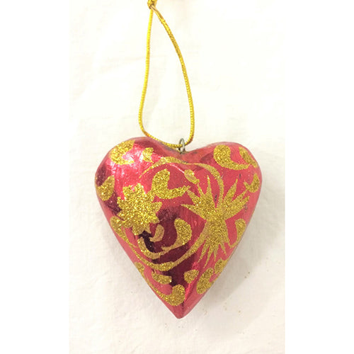 6cm Red Heart with Sparkle ornament