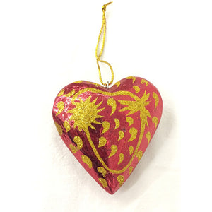 8cm Red Heart with Sparkle ornament