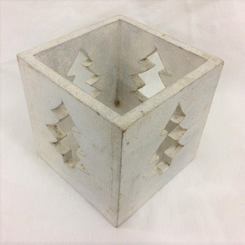 Tree Candle Box - White Silver