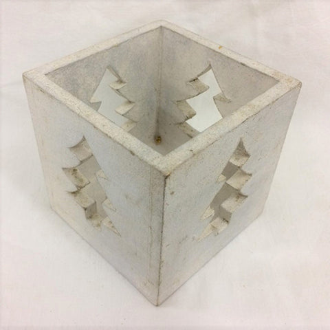 candle box - tree - cut out - white silver - 10cm