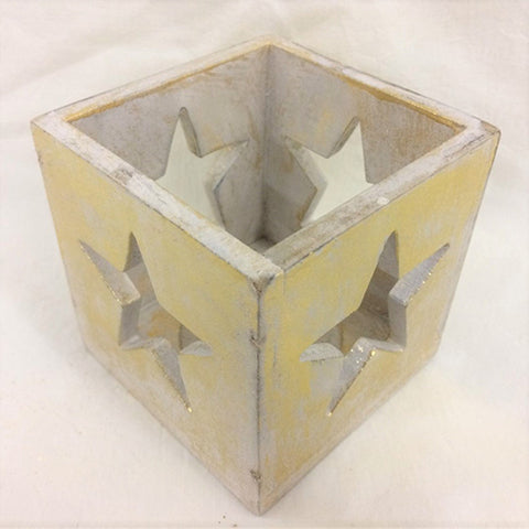 candle box - star - cut out - white gold - 10cm
