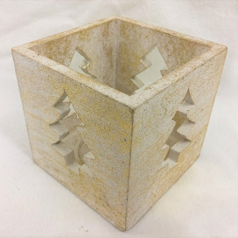 candle box - tree - cut out - white gold - 10cm