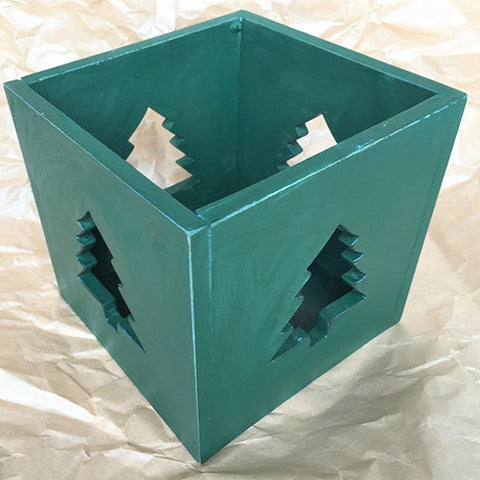 candle box - 4 tree cut outs - 15x15cm - green