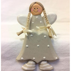 angel - shelf sitter - pigtails - light grey