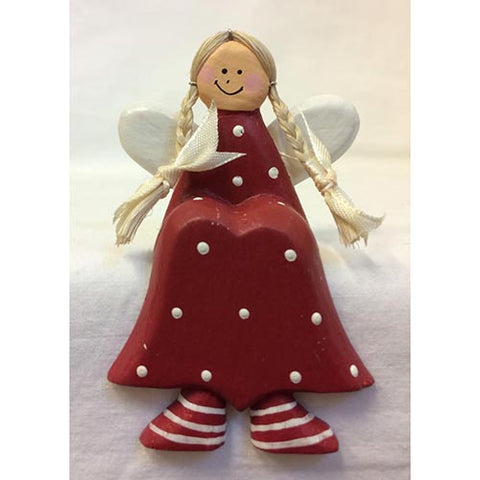 angel - shelf sitter - pigtails - dark red