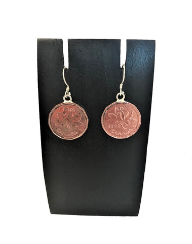 earring - Canadian penny - sterling silver hook/solder