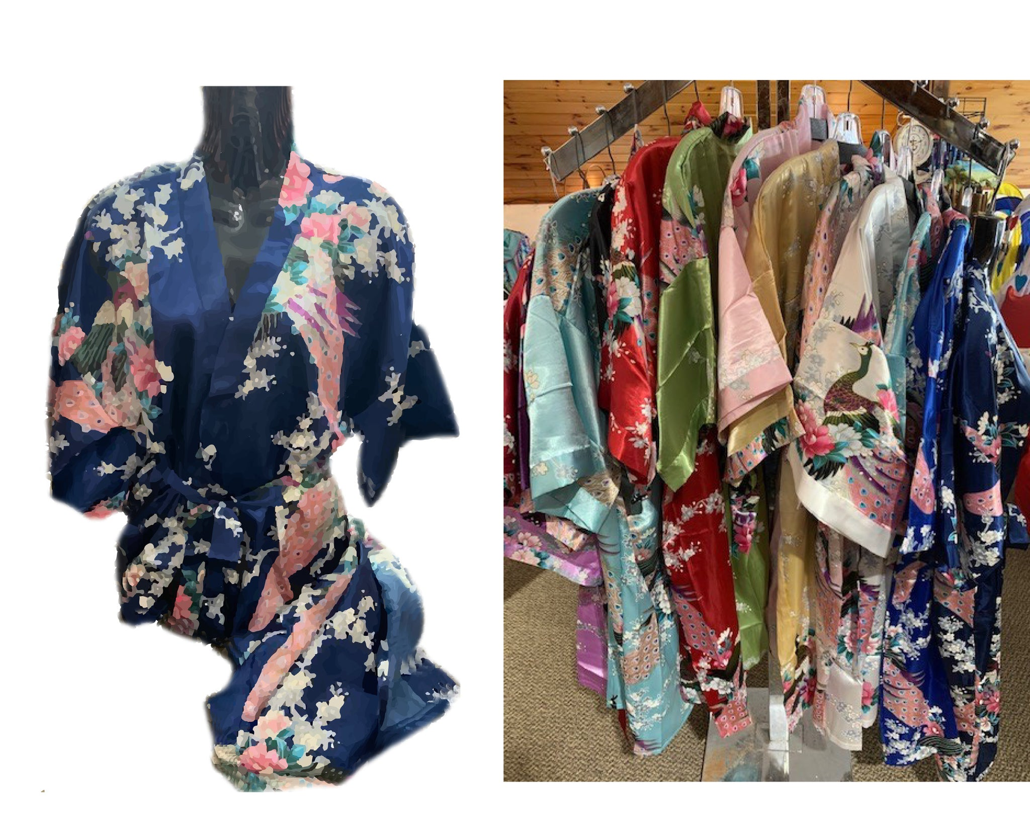 Description kimono/robe - chinese silk assorted colours
