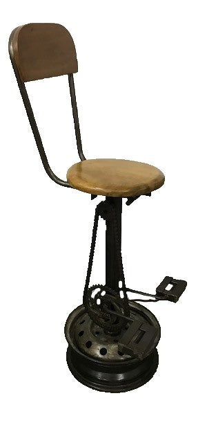stool - bicycle pedal - w/ back - 80cm - oil drum base