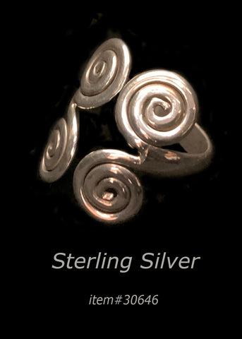 ring - double swirl - sterling silver