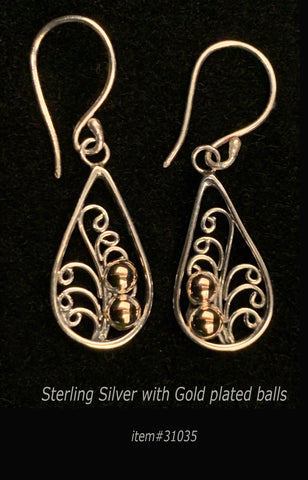 earring - teardrop / 2 gold dot - sterling silver