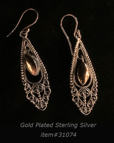 earring - gold/silver - teardrop - sterling silver