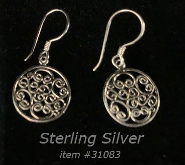 earring - abstract round - small - sterling silver